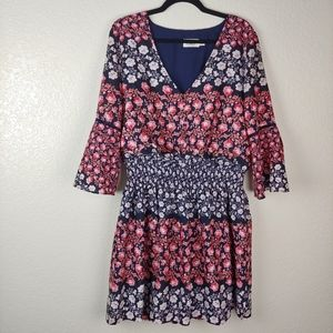 Eliza J Blue Floral Bell Sleeve Mini Dress Size 14